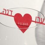 קישוט כוס יין - חץ בלב